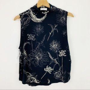 Babaton Vince Mock Top S Floral Black Sleeveless